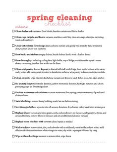 Spring Cleaning/Cleaning Checklists