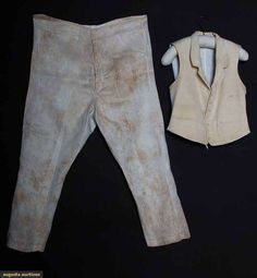 Man's Cream Vest & Pants, Ma., Early-mid 19th C, Augusta Auctions, April 9, 2014 - NYC, Lot 252