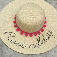 floppy hat embroidered rose all day straw hat gift De Praia ed453f6abe0
