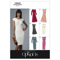 Buy Vogue Women's Dress Sewing Pattern, 8685 from our Sewing Patterns range at John Lewis & Partners. Vogue Patterns, Dress Sewing Patterns, Clothing Patterns, Skirt Sewing, Skirt Patterns, Coat Patterns, Blouse Patterns, Do It Yourself Fashion, Calf Length Dress