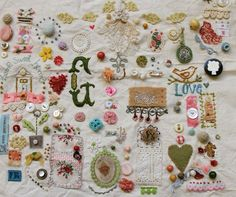 Embroidery & buttons, by Pam Garrison.  #textile