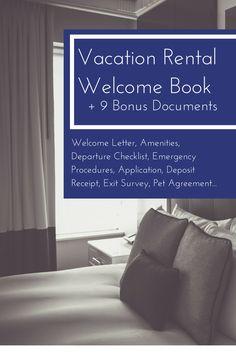 Vacation rental welcome book Welcome Letter, Amenities, Departure Checklist, Emergency Procedures, Application, Deposit Receipt, Exit Survey, Pet Agreement... Airbnb, VBRO, Homeaway host ideas