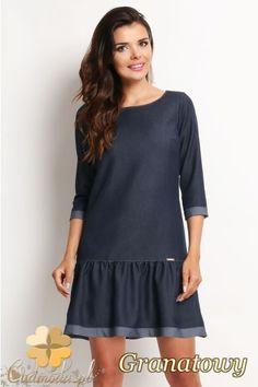 Jeansowa sukienka z falbanką. #cudmoda #moda #ubrania #fashion #styl #clothes #dress #dresses