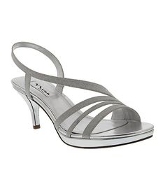 Nina Neely Asymmetrical Strap Slingback Sandals synthetic silver glitter 3h sz7.5 79.00 2/16