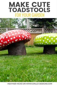 Make Garden Stools That Look Like Toadstools & Mushroom Stool Toadstool Seat kids decor Handcrafted Childrenu0027s ...