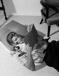 Michael Landon with cat