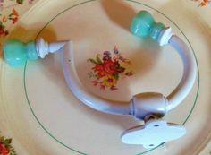 2 Jadeite Green Milk Glass Knobs on 2 Vintage Hat by prettyware, $29.00 Robe And Towel Hooks, Green Milk Glass, Hat Hooks, Glass Knobs, Hand Painted, Unique Jewelry, Pewter, Handmade Gifts, Brass