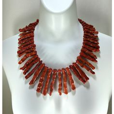 Finger Coral Necklace, Red Necklace, Bib Necklace, Bamboo Necklace,... ($80) ❤ liked on Polyvore featuring jewelry, necklaces, red necklace, beads jewellery, red coral necklace, coral statement necklace and beaded necklaces