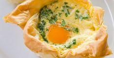 Ingrédients pour la recette des œufs cocotte : feuilles de pâte filo, œufs, tranches de bacon ou blanc de dinde, ciboulette, gruyère râpé, beurre, sel et poivre.