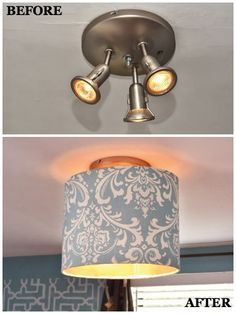 A Softer Look - Not a fan of being in the spotlight at home? Cover utilitarian fixtures with a fabric-wrapped drum shade 9 DIY Ways to Transform Your Light Fixtures Painting Light Fixtures, Diy Light Fixtures, Kitchen Lighting Fixtures, Ceiling Fixtures, Ceiling Fan, Ceiling Lights, Change Light Fixture, Light Fixture Makeover, Lamp Light
