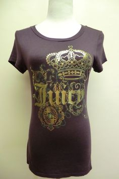 NEW JUICY COUTURE PLUM PIMA COTTON BLEND SHORT SLEEVE TEE TOP MADE IN PERU MED #JuicyCouture #KnitTop #Casual