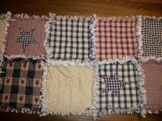 Primitive Americana Rag Quilt Table Runner- need the fabric for my Mom to make this!