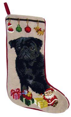 """Black Pug Dog Christmas Needlepoint Stocking - 11"""" x 18"""""""