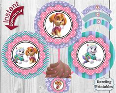 Sticker Cupcake Toppers & Wrappers Birthday by DazzlingPrintables