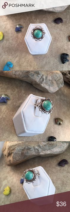 Vintage Navajo Turquoise & Sterling Ring Size 6.5 Authentic vintage Navajo Sterling silver & Natural Turquoise Ring size 6.5. This ring is in excellent vintage condition. The ring is right at 5/8 of an inch wide.   Thank you for checking out my store. Please contact me with any questions. Jewelry Rings