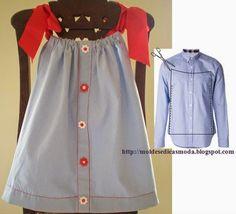 pillowcase dress of an old shirt