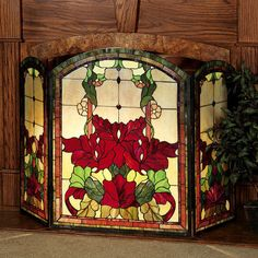 Yvette Floral Stained Glass Fireplace Screen features radiant hues of marbled rose, pale yellow, vine green, and red on cream segments. Amber glass jewels accentuate the lovely floral designs. Decorative Fireplace Screens, Stained Glass Mosaic, Glass Fireplace, Fireplace Garden, Paint Fireplace, Stained Glass Fireplace Screen, Stained Glass Lamps, Glass Fireplace Screen, Faux Stained Glass