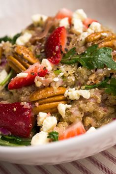 Sugar & Spice by Celeste: Quinoa Salad with Strawberries, Crispy Prosciutto, Toasted Pecans & Feta Featured in Southern Living!