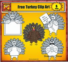 Free Turkey Clip Art from Charlotte's Clips.  The blank signs make them great for worksheets, printables, and stories.  Happy Thanksgiving ...Charlotte  For more pins like this visit: http://pinterest.com/kindkids/charlotte-s-clips/