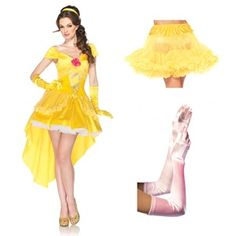 Complete Enchanting Belle Womens Costume | Dress + Removable back bow + Optional clear straps + Headpiece + Yellow petticoat + Yellow elbow-length gloves #officialprincesscostumes
