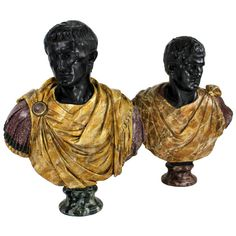 An Impressive Pair Of Large 19th Century Roman Emperor Busts  England  c.1880's  A pair of large and impressive late 19th Century Roman Emperor busts in faux marbled plaster. The scale being larger than life size, they are painted to resemble basalt, porphyry, Sienna marble and antico verdi. Fully restored.