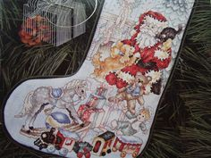 Cross stitch Christmas Stocking Pattern/ Vintage Stoney Creek Leaflet 23 Toys of Christmas Stocking/ santa train rocking horse personalize