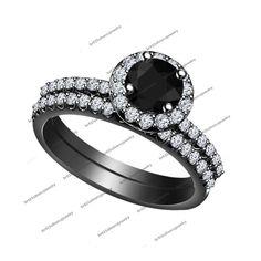 Halo Bridal Black Gold Engagement Black Round Cut Diamond 1.85CT Solitaire AAA #br925silverczjewelry #WeddingEngagementAniversaryBirthdayGift