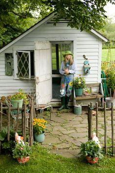 Collector and author Mary Randolph Carter shares the vintage garden accessories that have taken root in her heart. Collector and author Mary Randolph Carter shares the vintage garden accessories that have taken root in her heart. Shed Design, Garden Design, Randolph Carter, Greenhouse Shed, Backyard Sheds, Garden Sheds, Backyard Studio, Outdoor Sheds, Diy Garden