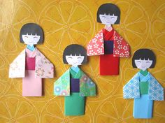You're buying 4 pieces of handmade origami japanese doll. It is handmade with heart. Very unique and beautiful .   They will look great in your scrapbooking projects, card making , photo frames , kids craft and good for any paper craft projects.   Size approx : 7.5cm - 8cm   Free shipping w...