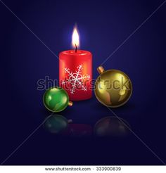 Vector illustration for your design. Christmas arrangement of candles and balloons . It can be used as a card, poster or other design element .