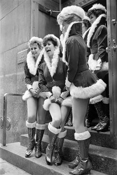 NYC. Nov. 12, 1986: In this unpublished photo from the archives, a few Rockettes awaited the animals that would be part of the Radio City Music Hall Christmas production. //  Photo: Neal Boenzi/The New York Times