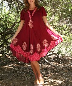 Look at this #zulilyfind! Wine & Plum Lace-Up Embroidered Swing Dress by Ananda's Collection #zulilyfinds