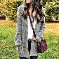 casual cardigan outfit idea.  Black and white, burgundy cross body bag.
