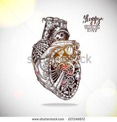 Hand drawn illustration of mechanical heart