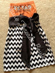 UT Texas Longhorns HORNS Burnt Orange Chevron Bling College Gameday Tube Strapless T-Shirt Dress with Sash Bow - Small on Etsy, $70.00