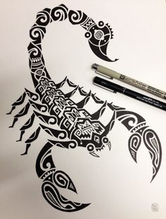 #tattoo #art #body #scorpion #maori #drawing #black&white