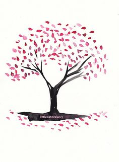 blossom cherry tree easy drawing trees drawings cartoon simple print illustration outline chinese painting blossoms japanese etsy 5x7 silhouette getdrawings