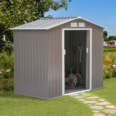Metal Outdoor Garden Storage Shed All Weather Tool Utility House Backyard for sale online Portable Storage Sheds, Steel Storage Sheds, Plastic Storage Sheds, Wooden Storage Sheds, Steel Sheds, Garden Storage Shed, Outdoor Storage Sheds, Outdoor Sheds, Metal Shed