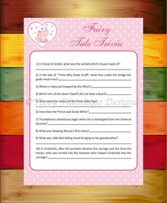 Baby Shower Game, Fairy Tale Trivia, Shower Game, Pink and White, Elephant Baby, Printable, Instant Download - TFD576 by TipsyFlamingoDesigns on Etsy