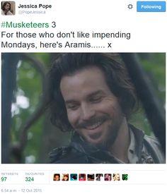 The Musketeers - Series III BtS filming via Jessica Pope's Twitter (Aramis)