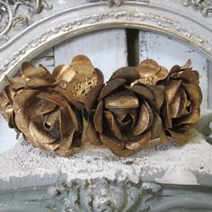 Large metal statue crown cabbage roses gold and rusty French Santos inspired headdress home decor anita spero