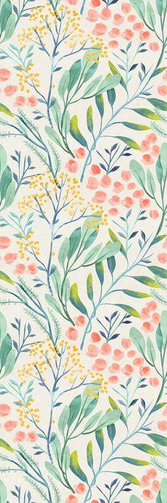 Removable Wallpaper Self Adhesive Wallpaper Watercolor Wild Flowers Peel & Stick Wallpaper
