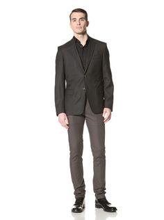 65% OFF Versace Collection Men\'s Tonal Textured Suit (Black Neat)
