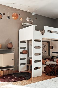 Cozy corner under F bunk bed created by Mika - Rafa-kids Bunk Bed Wall, Bunk Beds, Warm Colour Palette, Warm Colors, Big Pillows, Cozy Corner, Kids Decor, Home Decor, Baby Room Decor