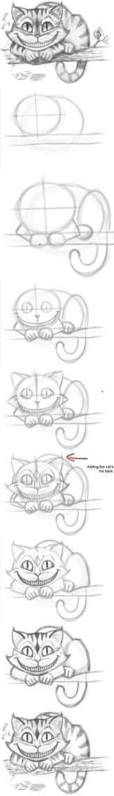 Meine Disney Zeichnung - Cheshire Cat from Alice In Wonderland. How to draw the Cheshire Cat - Logischesmädchen 44 - Pin Drawing Techniques, Drawing Tips, Drawing Sketches, Cool Drawings, Painting & Drawing, Drawing Ideas, Sketching, Drawing Stuff, Sketch Ideas