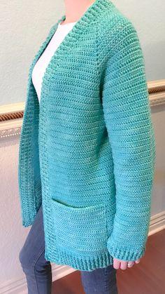 Ravelry: The Montana Cardigan pattern by Breon Brechelle Lauber Gilet Crochet, Crochet Coat, Crochet Cardigan Pattern, Crochet Jacket, Crochet Clothes, Crochet Patterns, Crochet Sweaters, Shrug For Dresses, Crochet Fashion