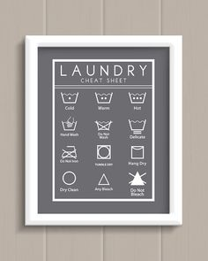 Laundry Room Cheat Sheet Art Print 5 Colors To Choose By Jpurifoy Aqua Rooms