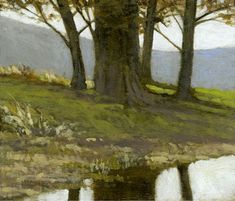 Pond at Alberg's   Marc Bohne   oil on panel.
