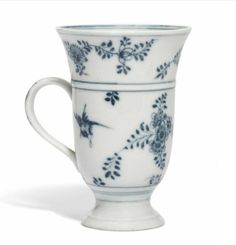 A Meissen blue and white flared cup, circa 1730-35, blue crossed swords and indistinct painter's mark.