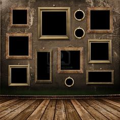 Old room, grunge industrial interior, worn  surface, wooden frames Stock Photo
